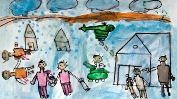 Dibuix d'un nen sirià refugiat, fugint de la guerra del seu país.