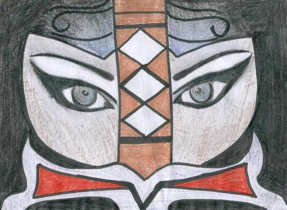 Dibujo para programa de mano de El baile de Las Amazonas.